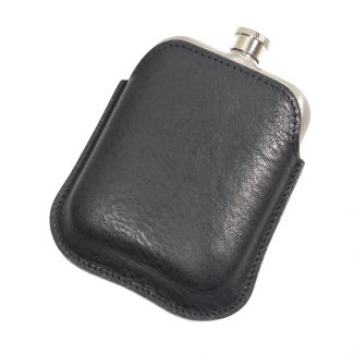 Italian Leather Hip Flask (Black)