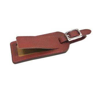 Italian Leather Luggage Tag (Burgundy)