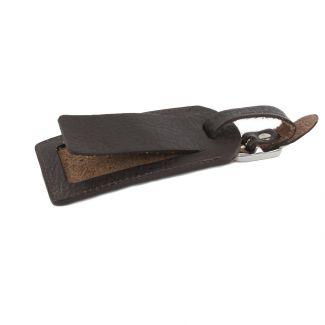 Italian Leather Luggage Tag (Brown)