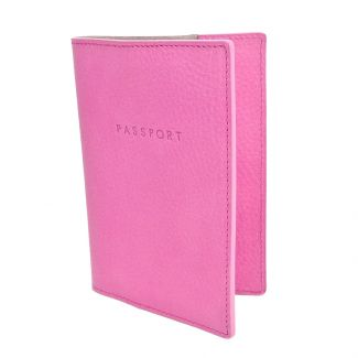 Italian Leather Passport Cover (Pink)