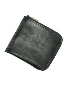Italian Leather Zip Wallet (Black)