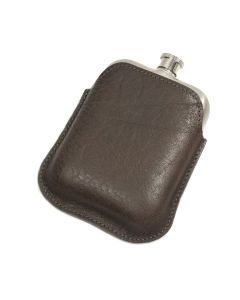 Italian Leather Hip Flask (Brown)