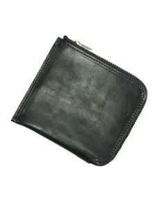 Italian Leather Zip Round Wallet