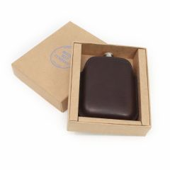 Italian Leather Sleeve & Black Hip Flask