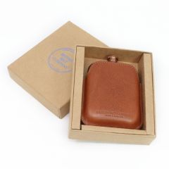 Copper Hip Flask & Italian Leather Sleeve