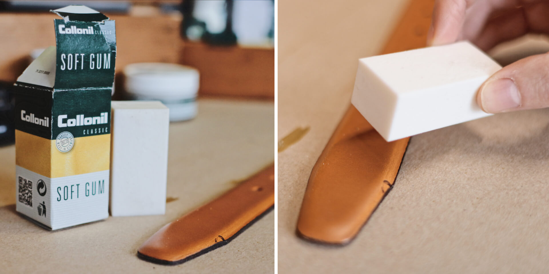 buffing surface marks out of fine leather, collonil soft gum